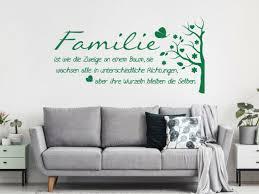 wandtattoo familie baum spruch wohnzimmer wandaufkleber