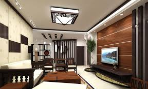 Living Room Luxurious Interior Featuring TV With Wooden Panelling Dark Cabinet Red Side Table Star Decor Wall Plant Pot White Marble Floor