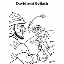 David Aiming To Hit Goliath Giant Philistine Coloring Pages