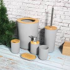 6er badset badezimmer zubehör set wc bürste kosmetikeimer zahnbürstenhalter mülleimer grau aus pp bambus