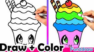Yu How Cute Drawings Starbucks To Draw A Rainbow Cupcake Easy Mei Youtube Cartoon Drawing