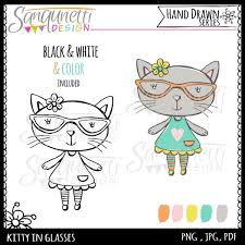 Kitty In Glasses Hand Drawn Illustration Sanqunetti Design Quality Commercial Use Clipart And