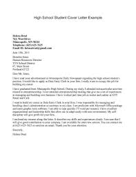 Cover Letter Examples For Highschool Students With No Experience