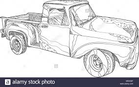 Doodle Art Illustration Of A Vintage Pickup Truck, A Light Duty ...