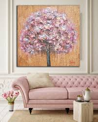 Original Rustic Abstract Pink Tree Wall Art Mixed Media Painting On Canvas Shabby Chic