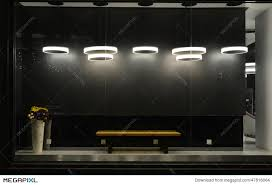 Empty Store Window With Led Light BulbsLED Lamp Used In Shop Commercial