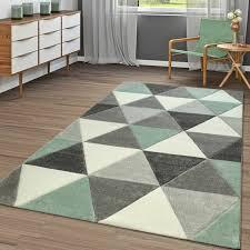 kurzflor teppich wohnzimmer grün grau dreieck design 3 d