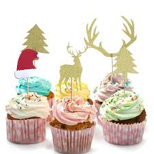 5pcs Gold Elk Christmas Tree Cupcake Topper Xmas Picks Cake Decoration Supplies For Home New Year