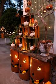 Simple Fall Decorating Idea Nested Crates And Pottery Pumpkins On Two Weathered Boards