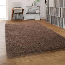 hochflor teppich shaggy waschbar für wohnzimmer und schlafzimmer einfarbig in braun