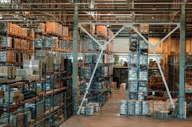 100 Modern Containers Warehouse Interior With Boxes And Containers On Shelves Stock Photo