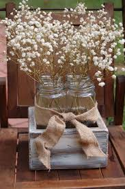 Rustic Country Wedding Reception Decorations Table Centerpiece With White Flowers In Wooden Box On Small