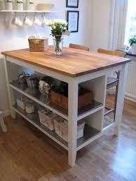 STENSTORP Ikea Kitchen Island white Oak With 2 Ingolf White Bar