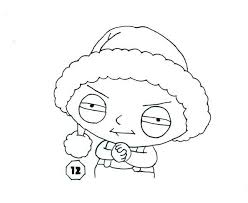 Guy Stewie Wearing Santa Hat Coloring Page