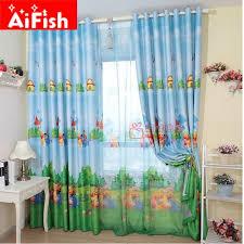 rideau pour chambre enfant bleu américain style personnage de dessin animé ours rideaux pour