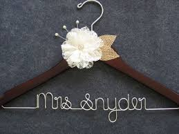BURLAP AND LACE Wedding Dress Hanger Rustic Bridal Ivory Flower Mrs Personalized Bride Last Name