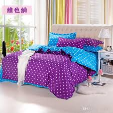 Home Textiles Purple blue Polka Dot Bedding Sets Include forter