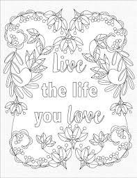 Live The Life You Love Inspirational Quotes A Positive Uplifting By LiltColoringBooks Cute Coloring PagesAdult