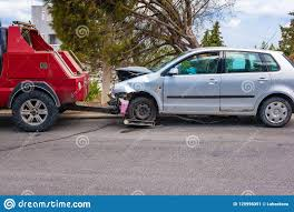 100 Tow Truck Accident Crashed Car After Ready To Be Away By Stock