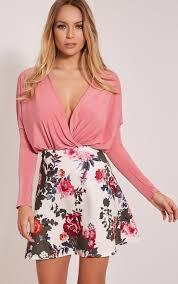 deltie cream floral a line mini skirt image 1 female fashion