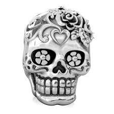 Pandora Halloween Charms by Bella Fascini Sugar Skull Dia De Los Muertos Charm Bead Fits Pandora