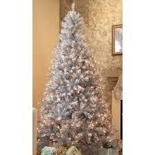 9 Slim Christmas Tree Prelit by Cmi 9 U0027 Slim Retro Silver Tinsel Pre Lit Artificial Christmas Tree