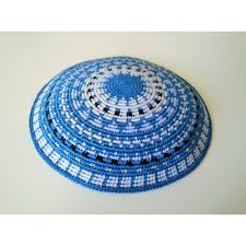 Light Blue Carpet Design Knitted Kippa