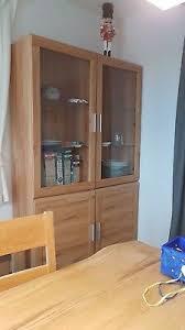 wohnwand vitrine hängeschrank lowboard buche mit beleuchtung