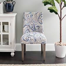 Blue Paisley Wingback Dining Chair