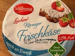 milbona leichter körniger frischkäse 0 8 fett kalorien