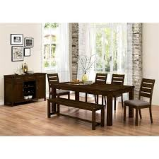 Rustic Block Plank Design Casual 7 Piece Dining Set With Matching Buffet Server