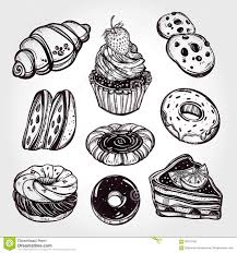 Bakery and pastry icons set in vintage style Cafe chocolate Royalty Free Illustration