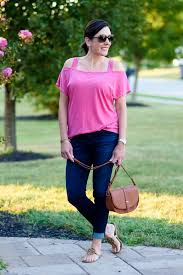 Casual End Of Summer Outfit Pink Denim