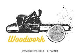 Woodworking Chainsaw Logo Template Black And White Vector Objects