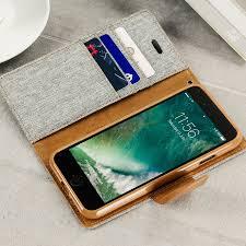 Canvas Diary iPhone 7 Wallet Case Grey Camel