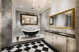 bathroom gray bathroom marble wall black white floor tile gold