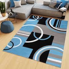 teppich kurzflor modern figuren schwarz grau blau weiß