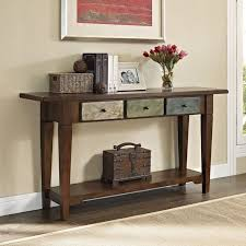 Traditional Rustic Style Weathered Finish Entry Hallway Accent Console Table