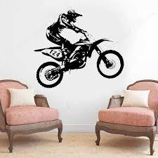 motocross motorrad spieler wand aufkleber dirt bike wand decals vinyl home decor für jungen zimmer schlafzimmer wandbilder benutzerdefinierte anzahl