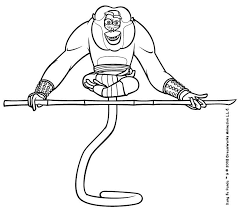 Master Monkey Doing Yoga Coloring Page Color Online Print