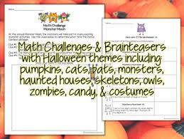 Halloween Brain Teasers Math by Math Challenges U0026 Brainteasers Halloween Fast Finishers Centers