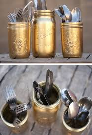 Gold Painted Silverware Mason Jars