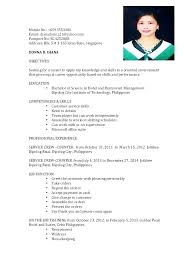 Simple Resume Examples For Filipino Packed With Format Imagine Ex On Basic Resumes