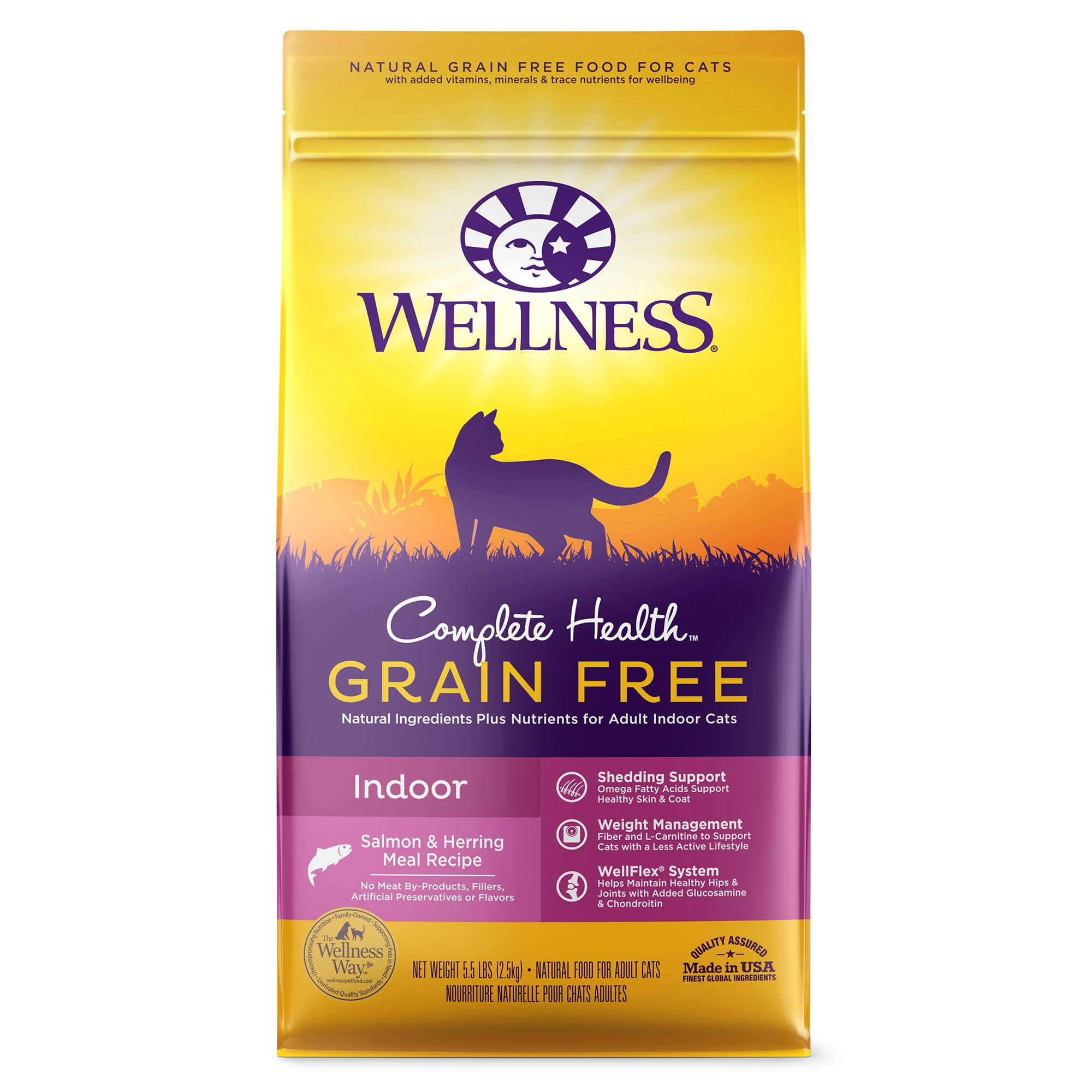 Wellness Complete Health Natural Grain Free Indoor, Salmon & Herring Dry Cat Food, 5.5-Pound Bag