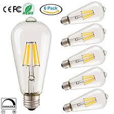 vintage edison led bulb dimmable 6w 70w equivalent st64 clear