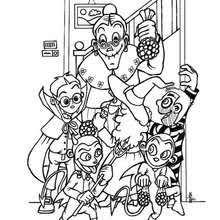 Kids Retrieve Candies Halloween Coloring Page