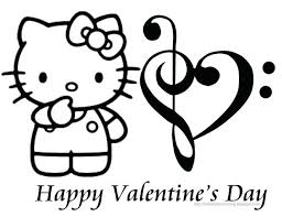Free Coloring Pages Kitty Printable Hello Pictures Valentines Day Card Halloween