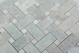 polished 1x2 basket weave ming green thassos white marble