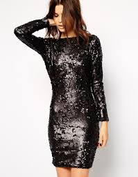 lipsy all over sequin dress with cowl back in black lyst
