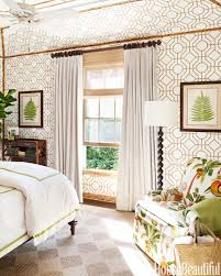 Cute Cowtan And Tout Wallpaper Matched With Antique White Curtain Plus Bedding For Bedroom Decor